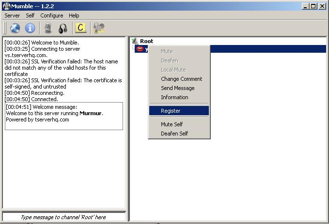 How to assign users to admin status in Mumble